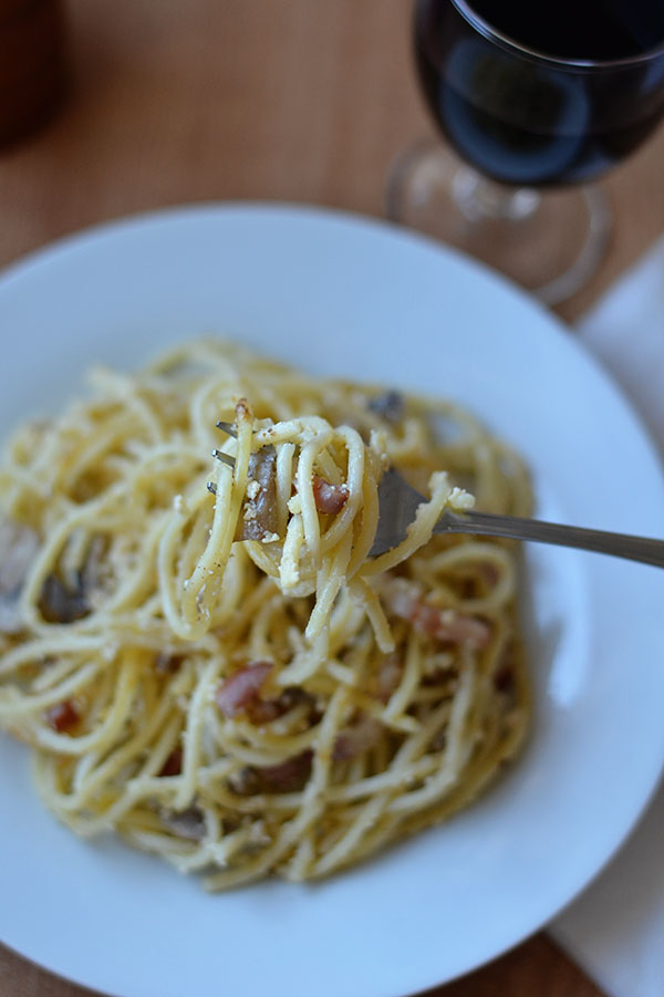 mushroom cottage cheese carbonara