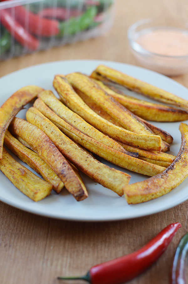 Baked Plantain Fries - These baked plantain fries are oven fried to crisp perfection. Great as an appetizer or side dish.