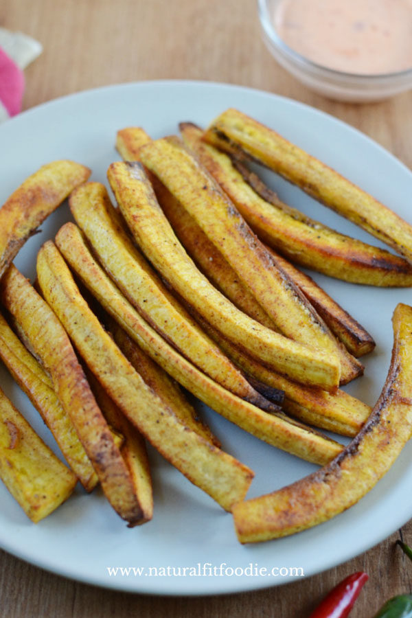 Baked Plantain Fries - These baked plantain fries are oven fried to crisp perfection. Enjoy as an appetizer or side dish.
