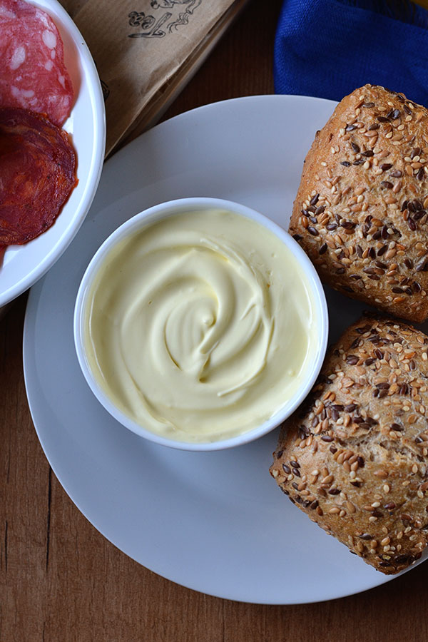 Olive Oil Butter - Make your own blended olive oil butter! It's super easy, only three ingredients and will keep in the refrigerator for at least 3 months.