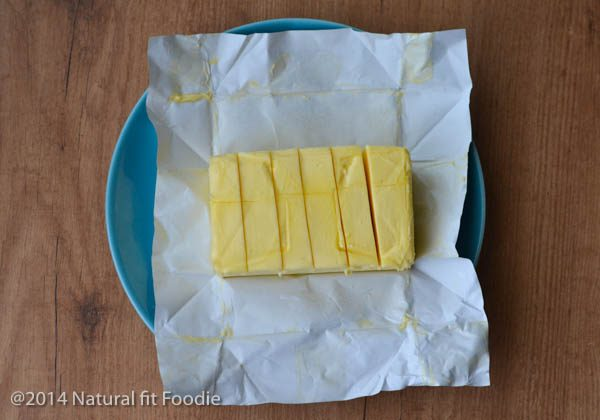 Overhead shot of butter at room temperature