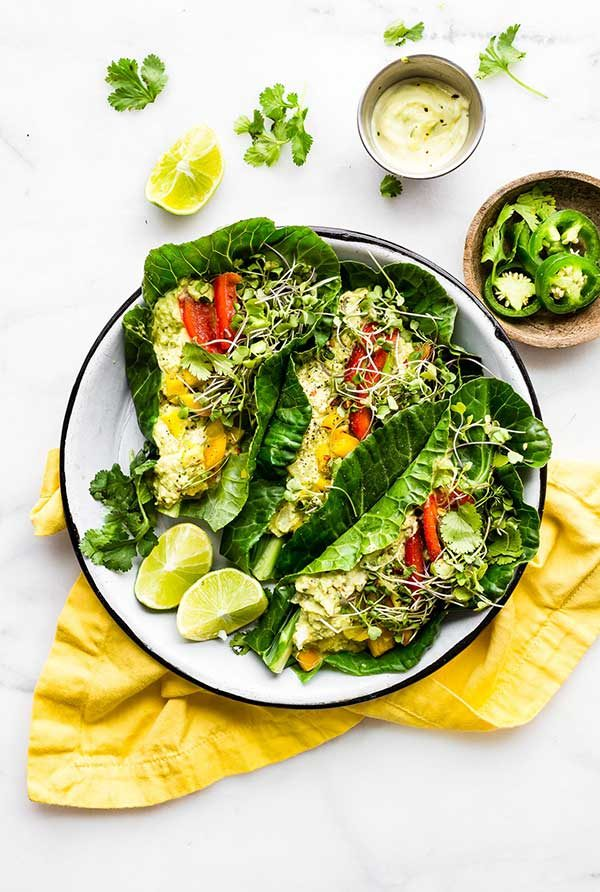 overhead view of Mexican avocado egg salad in collard greens wraps