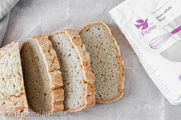 An easy no knead gluten free bread recipe using Dove's Farm Gluten Free Flour. No eggs or dairy required.