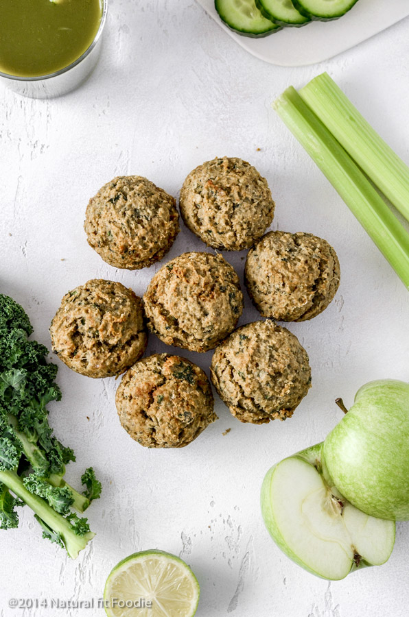 Green Juice Pulp Muffins overhead in portrait with green juice ingredients