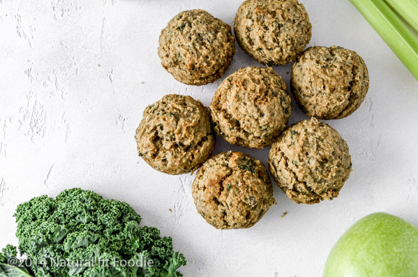 Green Juice Pulp Muffins overhead in landscape with green juice ingredients