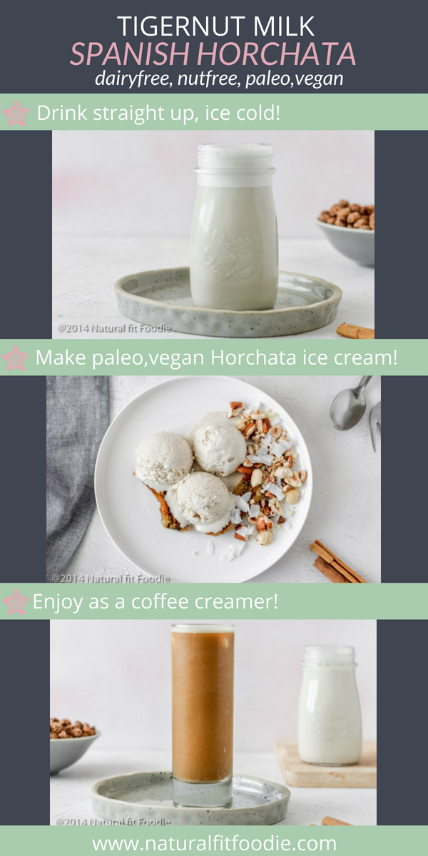 Tigernut Milk Spanish Horchata is the perfect dairy free, nut free, seed free milk! Drink it straight up, add it to your coffee or transform it into a creamy horchata ice cream. #tigernutmilk #horchata #dairyfreemilk #nutfreemilk #spanishhorchata #horchataicecream #horchatacoffeecreamer #horchataicedcoffee #summerdrinks