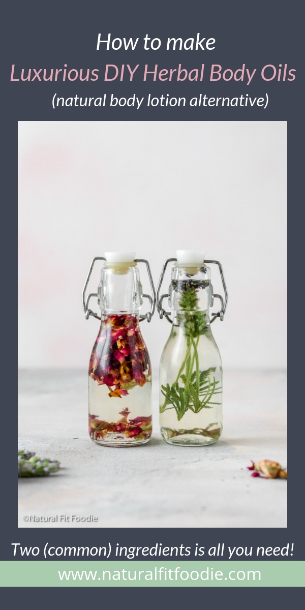 DIY Herbal Body Oil is a naturally fragrant luxurious moisturiser. It makes the perfect alternative to store-bought body lotions which can contain harmful endocrine disruptors. #bodyoil #natural #herbal #bodylotion
