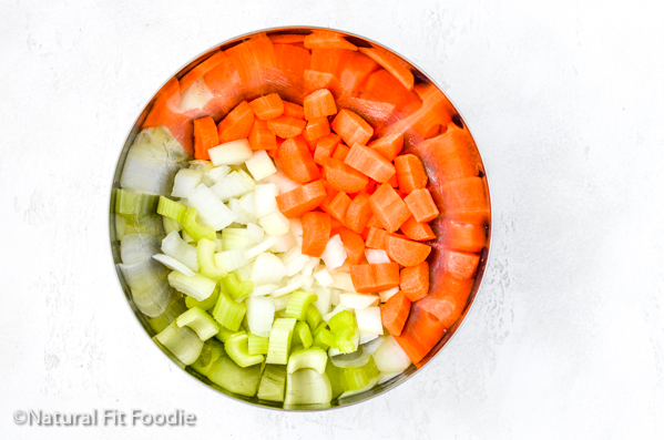 Vegetable ingredients for chicken and dumpling soup